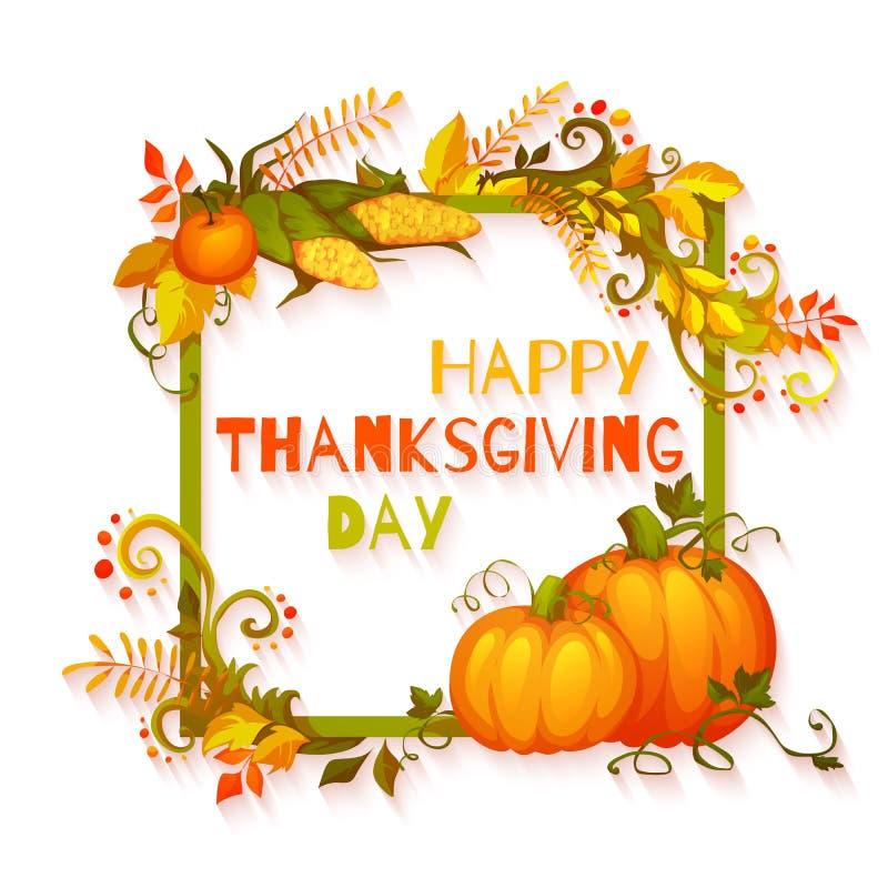 Ευτυχές έμβλημα ημέρας των ευχαριστιών με τα λουλούδια και ελεύθερη απεικόνιση δικαιώματος