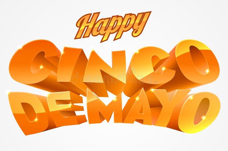 Ευτυχές έμβλημα Cinco de Mayo ελεύθερη απεικόνιση δικαιώματος