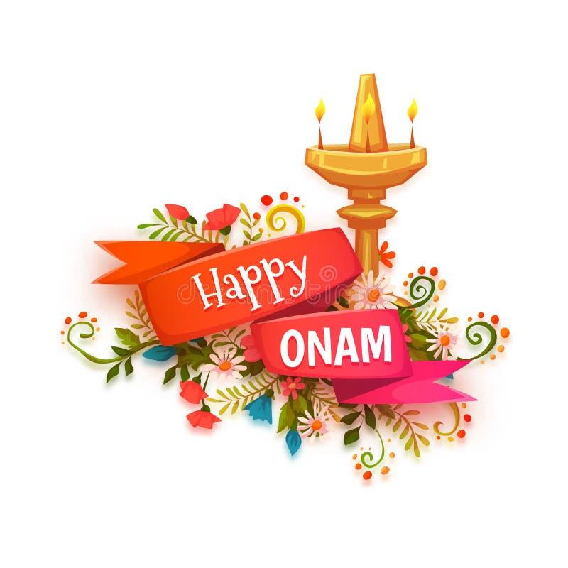 Ευτυχές έμβλημα Onam με τα λουλούδια και το λαμπτήρα διανυσματική απεικόνιση