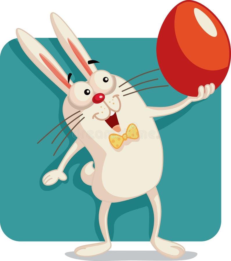 Ευτυχές λαγουδάκι που κρατά διανυσματικά κινούμενα σχέδια αυγών Πάσχας απεικόνιση αποθεμάτων