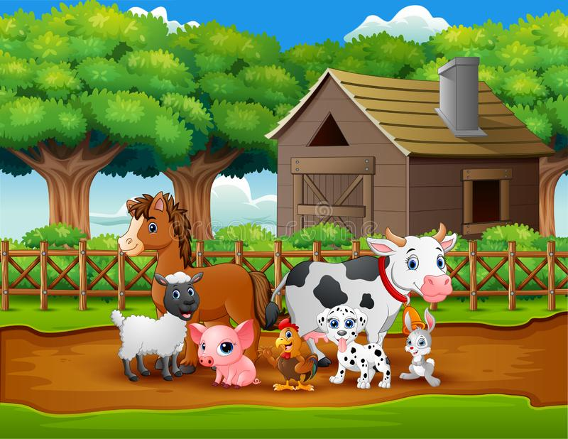 Ευτυχές αγρόκτημα ζώων έξω από το κλουβί απεικόνιση αποθεμάτων