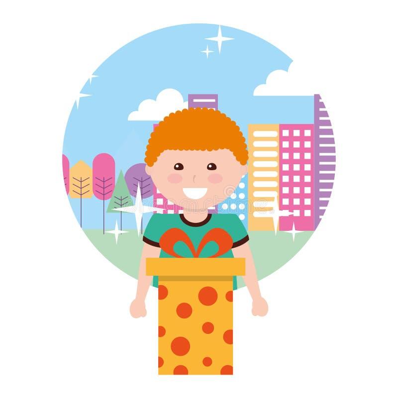 Ευτυχές αγόρι με το δώρο γενεθλίων στην πόλη απεικόνιση αποθεμάτων