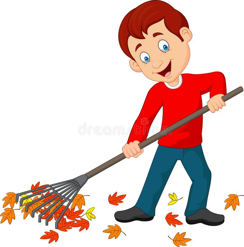 Ευτυχές αγόρι που μαζεύει με τη τσουγκράνα τα φύλλα διανυσματική απεικόνιση