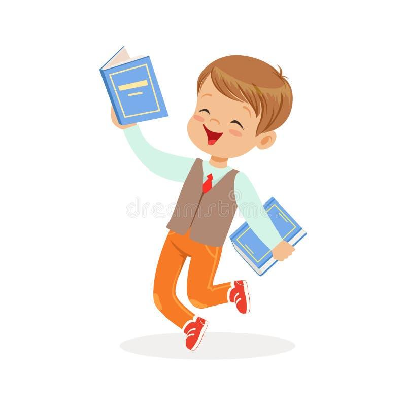 Ευτυχές αγόρι που τρέχει με τα βιβλία, παιδί που απολαμβάνουν την ανάγνωση, ζωηρόχρωμη διανυσματική απεικόνιση χαρακτήρα διανυσματική απεικόνιση