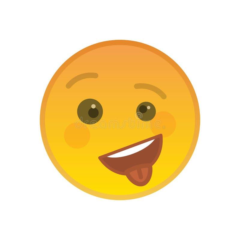 Ευτυχές αναιδές emoticon με τη γλώσσα έξω διανυσματική απεικόνιση