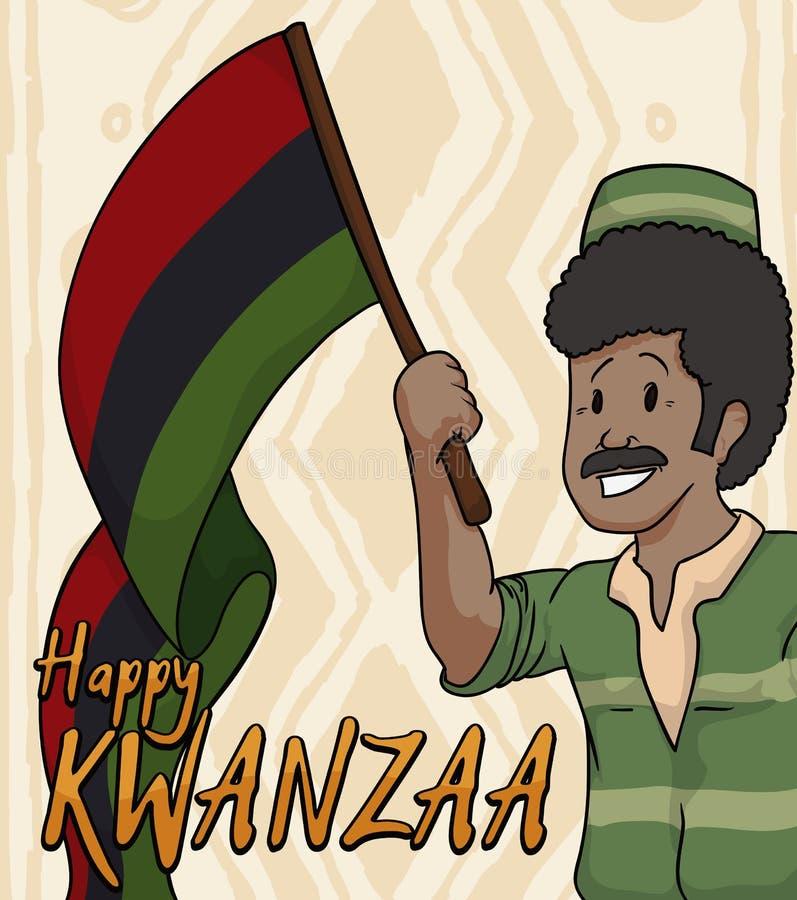Ευτυχές ανώτερο άτομο που κρατά μια σημαία για τον εορτασμό Kwanzaa, διανυσματική απεικόνιση απεικόνιση αποθεμάτων