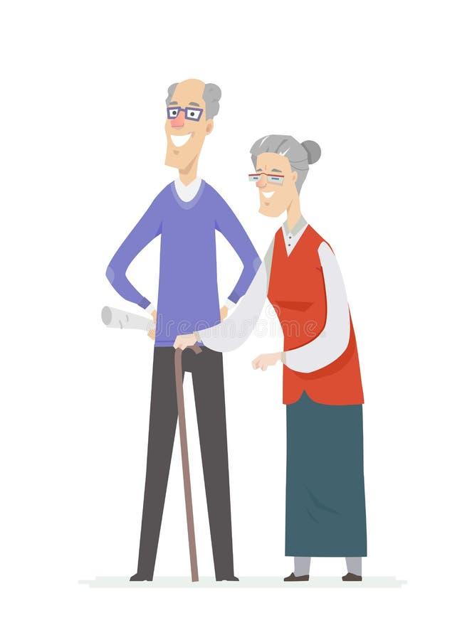 Ευτυχές ανώτερο ζεύγος - απομονωμένη χαρακτήρες απεικόνιση ανθρώπων κινούμενων σχεδίων διανυσματική απεικόνιση