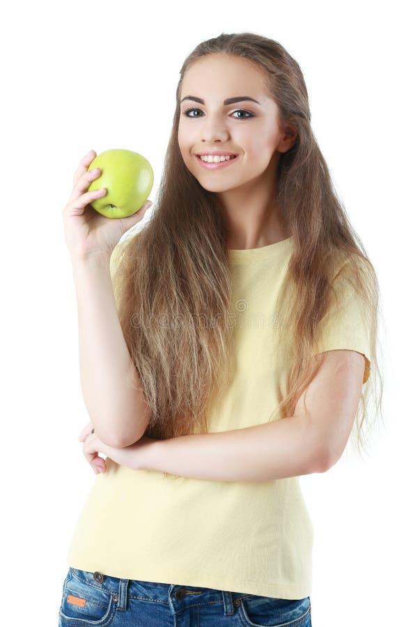 ευτυχές απομονωμένο λευκό πορτρέτου κοριτσιών εστίασης ανασκόπησης μήλων στοκ εικόνα με δικαίωμα ελεύθερης χρήσης
