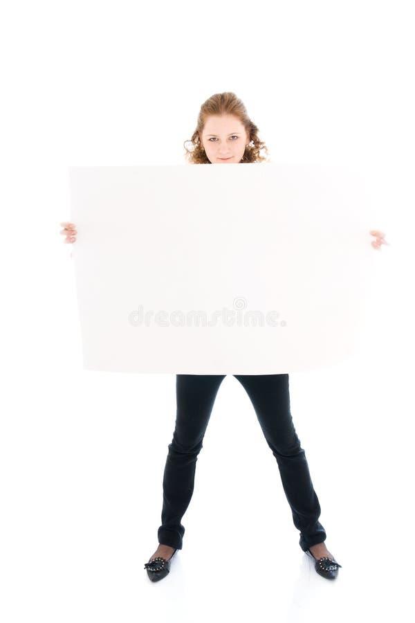 ευτυχές απομονωμένο λευκό αφισών κοριτσιών στοκ εικόνα
