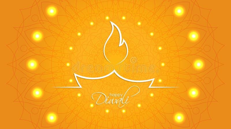 Ευτυχές αφηρημένο υπόβαθρο Diwali με το διακοσμητικό σχέδιο του ethn απεικόνιση αποθεμάτων