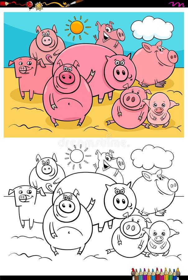 Ευτυχές βιβλίο χρώματος ομάδας χαρακτήρων χοίρων ζωικό διανυσματική απεικόνιση