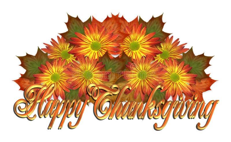 Ευτυχές γραφικό κείμενο ημέρας των ευχαριστιών floral διανυσματική απεικόνιση
