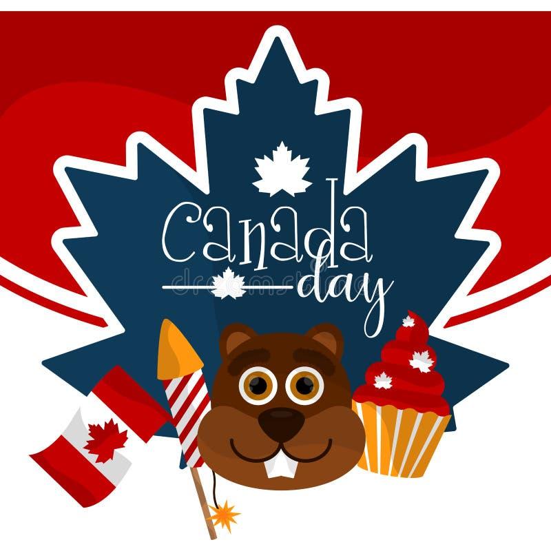 Ευτυχές γραφικό σχέδιο ημέρας του Καναδά διανυσματική απεικόνιση
