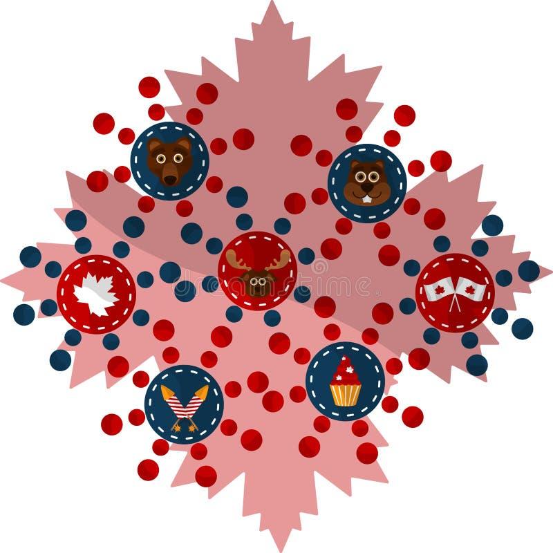 Ευτυχές γραφικό σχέδιο ημέρας του Καναδά απεικόνιση αποθεμάτων