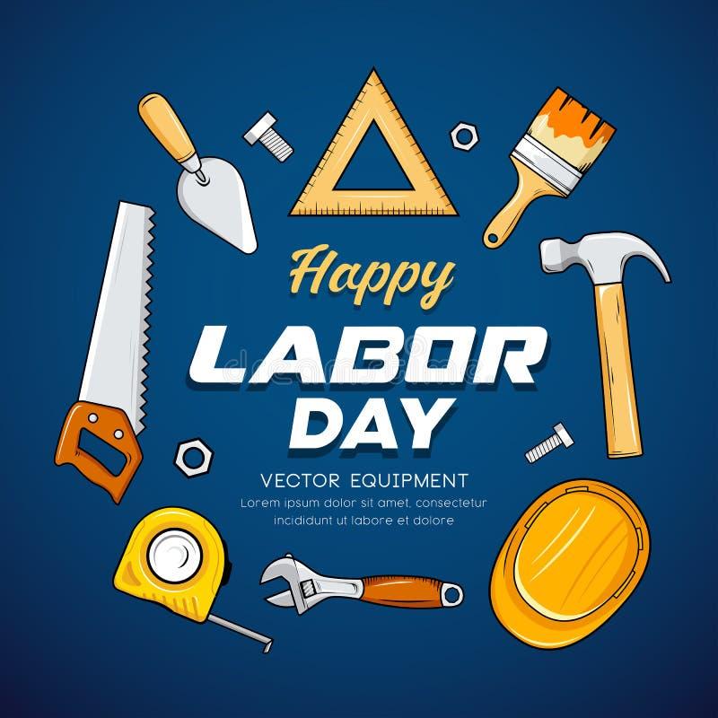 Ευτυχές διάνυσμα εργαλείων βιοτεχνών Εργατικής Ημέρας, στο μπλε σχέδιο υποβάθρου απεικόνιση αποθεμάτων