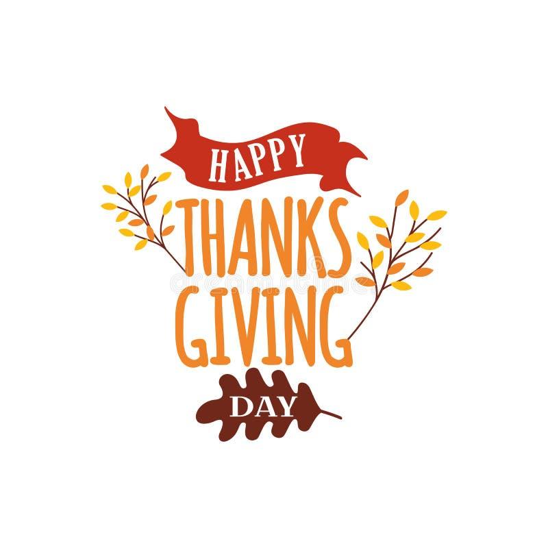 Ευτυχές διάνυσμα κειμένων ημέρας των ευχαριστιών με την απεικόνιση δέντρων πτώσης φθινοπώρου Λογότυπο, αυτοκόλλητη ετικέττα διακρ ελεύθερη απεικόνιση δικαιώματος