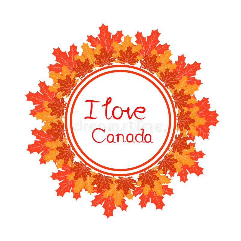 Ευτυχές διανυσματικό πρότυπο ημέρας του Καναδά με τα φύλλα σφενδάμου απεικόνιση αποθεμάτων