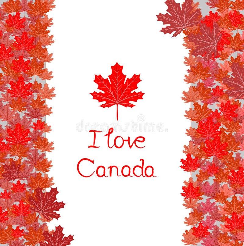 Ευτυχές διανυσματικό πρότυπο ημέρας του Καναδά με τα φύλλα σφενδάμου διανυσματική απεικόνιση