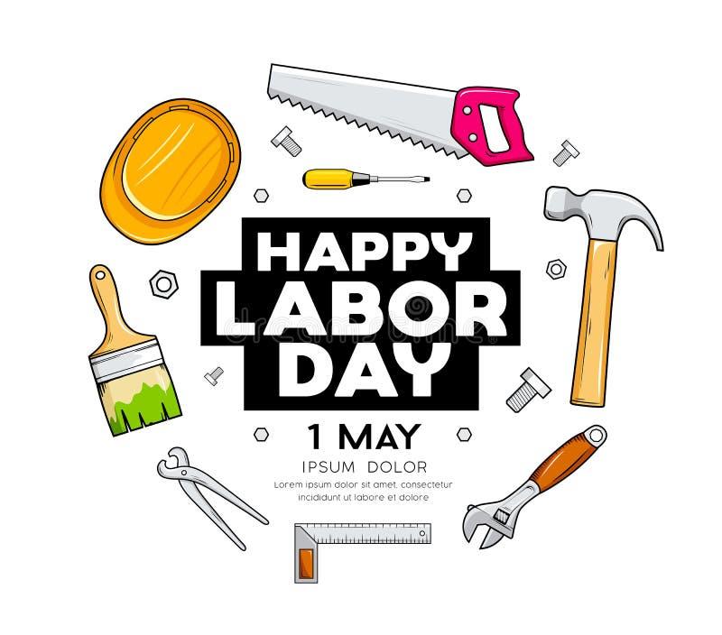 Ευτυχές διανυσματικό σχέδιο εργαλείων βιοτεχνών Εργατικής Ημέρας που απομονώνεται απεικόνιση αποθεμάτων