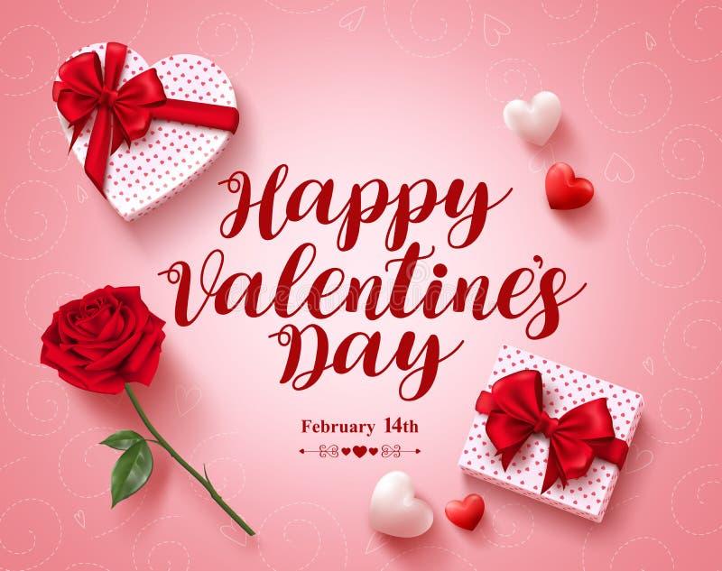 Ευτυχές διανυσματικό σχέδιο ευχετήριων καρτών κειμένων ημέρας βαλεντίνων με τα δώρα αγάπης διανυσματική απεικόνιση