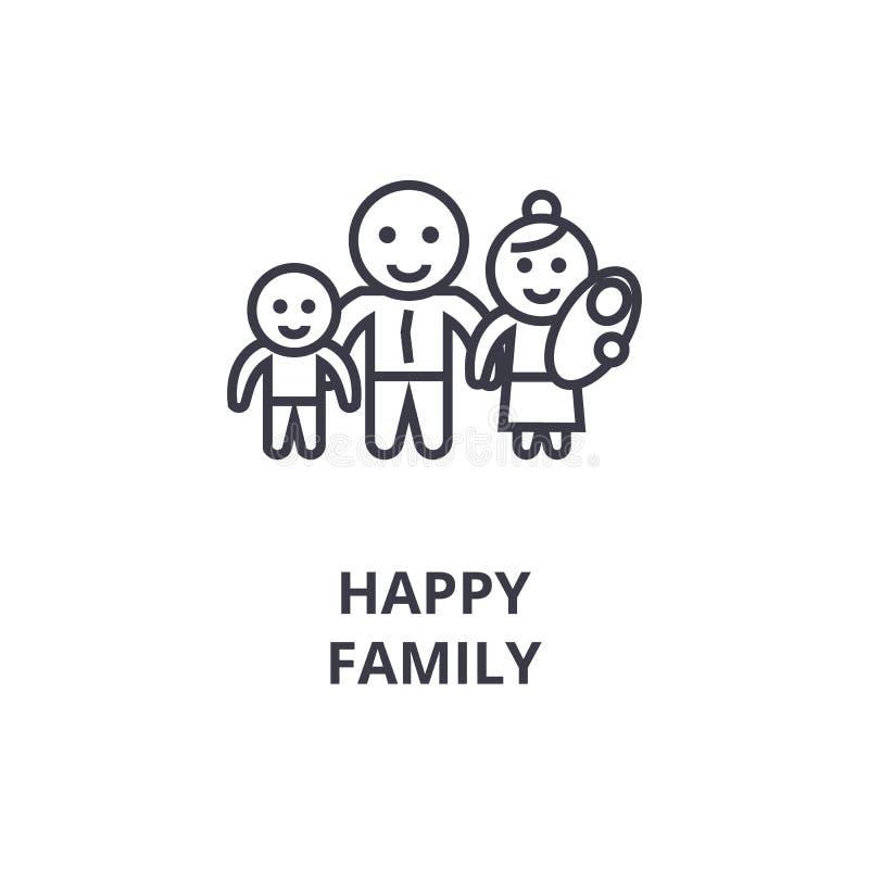 Ευτυχές εικονίδιο οικογενειακών γραμμών, σημάδι περιλήψεων, γραμμικό σύμβολο, διανυσματική, επίπεδη απεικόνιση διανυσματική απεικόνιση