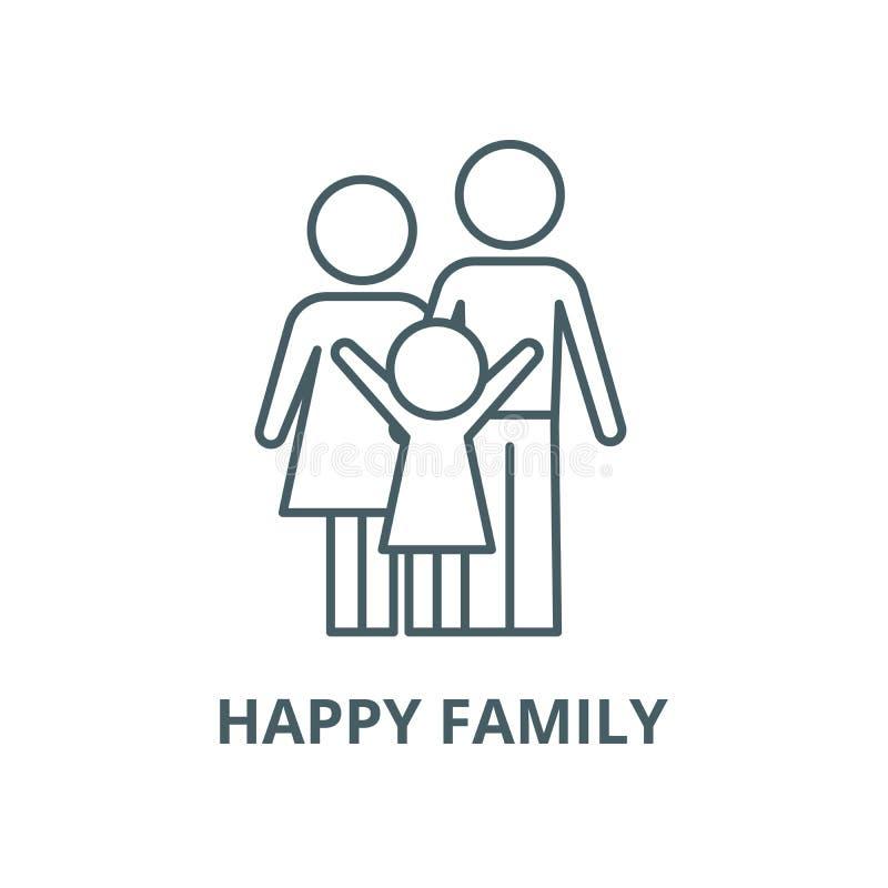 Ευτυχές εικονίδιο οικογενειακών διανυσματικό γραμμών, γραμμική έννοια, σημάδι περιλήψεων, σύμβολο ελεύθερη απεικόνιση δικαιώματος