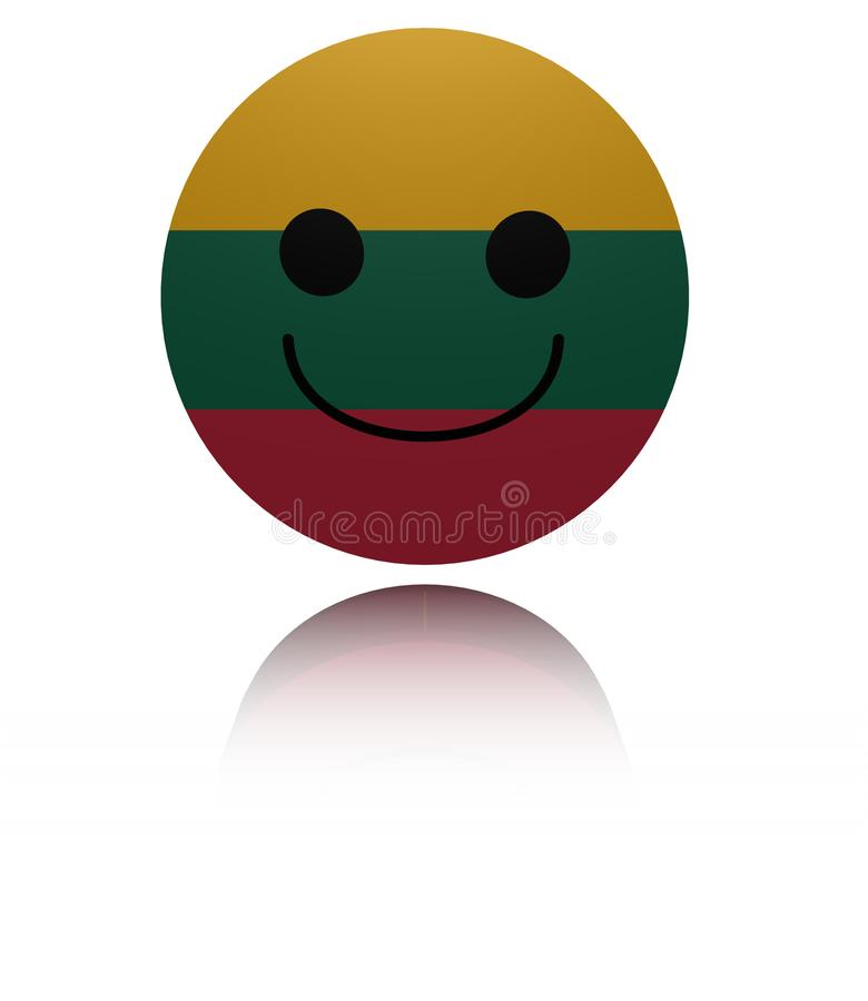 Ευτυχές εικονίδιο της Λιθουανίας με την απεικόνιση αντανάκλασης απεικόνιση αποθεμάτων