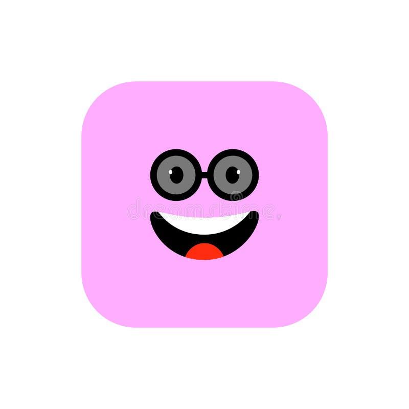 Ευτυχές επίπεδο ύφος εικονιδίων Emoji Χαριτωμένο στρογγυλευμένο Emoticon τετράγωνο στην ημέρα παγκόσμιου χαμόγελου Εύθυμος, Lol,  διανυσματική απεικόνιση