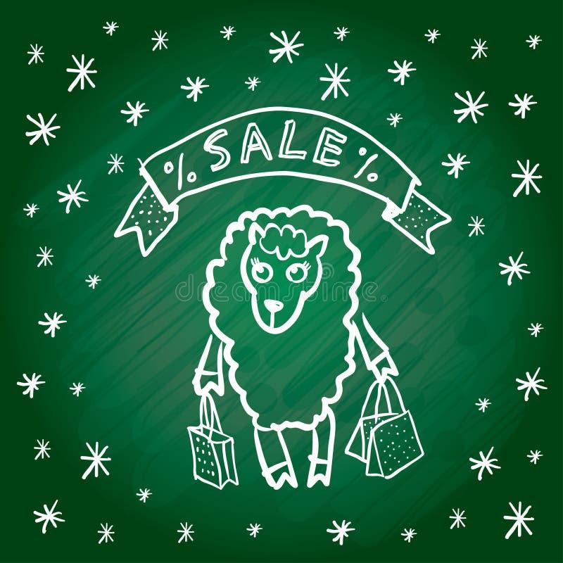 ευτυχές λευκό αγορών πώλησης κοριτσιών Χριστουγέννων ανασκόπησης Κάρτα Χαρούμενα Χριστούγεννας αστεία πρόβατα ελεύθερη απεικόνιση δικαιώματος