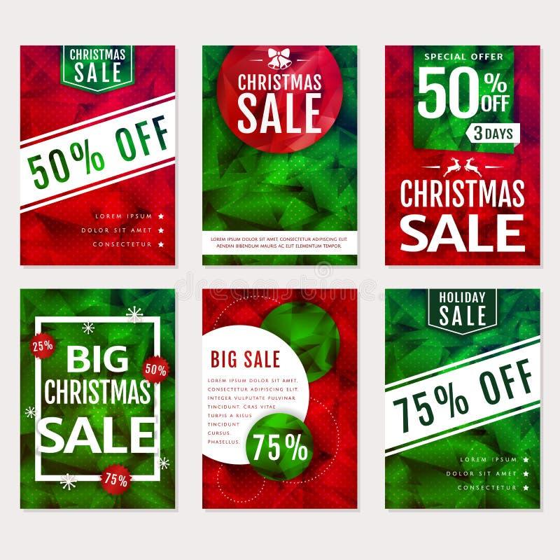 ευτυχές λευκό αγορών πώλησης κοριτσιών Χριστουγέννων ανασκόπησης Διανυσματικά polygonal εμβλήματα καθορισμένα απεικόνιση αποθεμάτων