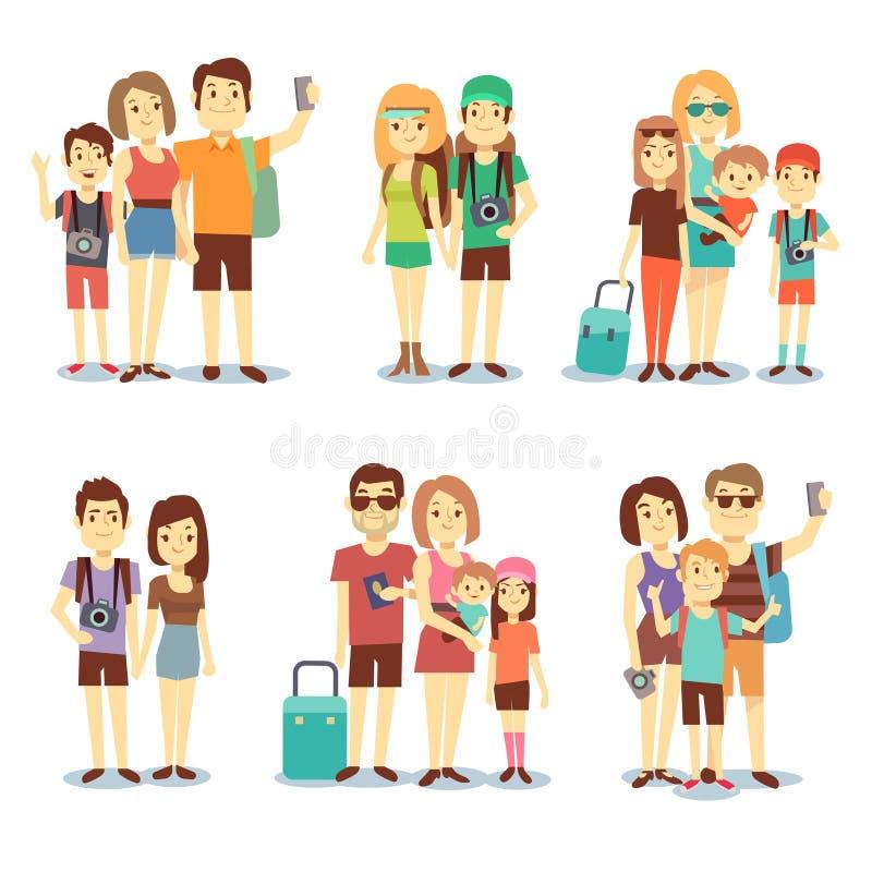 Ευτυχές ζεύγος, οικογένεια, άνθρωποι, διανυσματικοί διακινούμενοι χαρακτήρες κινουμένων σχεδίων τουριστών ελεύθερη απεικόνιση δικαιώματος