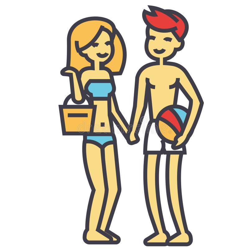 Ευτυχές ζεύγος παραλιών στη beachwear, νέους γυναίκα και τον άνδρα στην έννοια διακοπών διανυσματική απεικόνιση