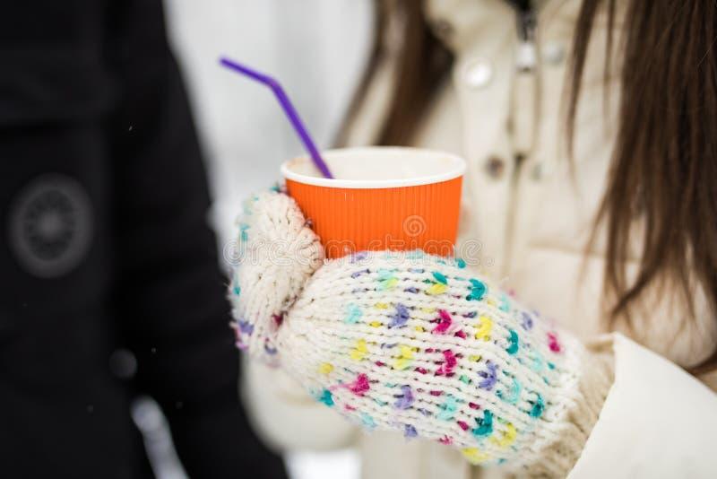 Ευτυχές ζεύγος που πίνει το καυτό τσάι το χειμώνα στοκ εικόνα με δικαίωμα ελεύθερης χρήσης
