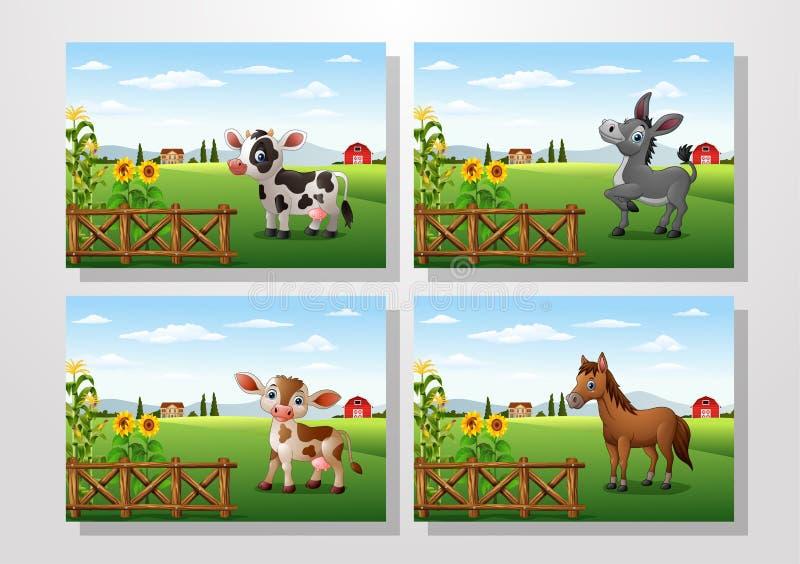 Ευτυχές ζώο κινούμενων σχεδίων με τις συλλογές αγροτικού υποβάθρου καθορισμένες διανυσματική απεικόνιση