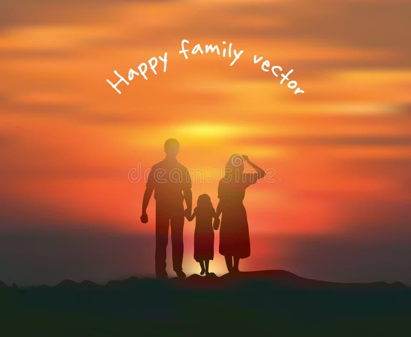 Ευτυχές ηλιοβασίλεμα οικογενειακών ήλιων και ουρανού σκιαγραφιών ελεύθερη απεικόνιση δικαιώματος
