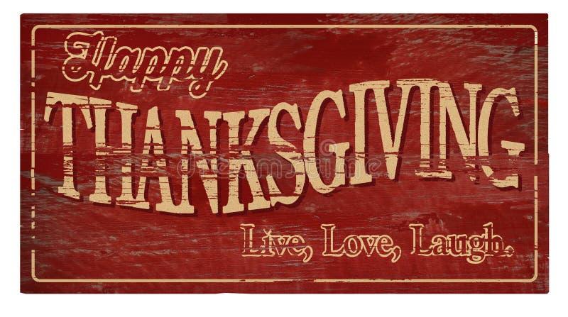 Ευτυχές ημέρας των ευχαριστιών ξύλινο γέλιο αγάπης πινακίδων ζωντανό στοκ φωτογραφία με δικαίωμα ελεύθερης χρήσης