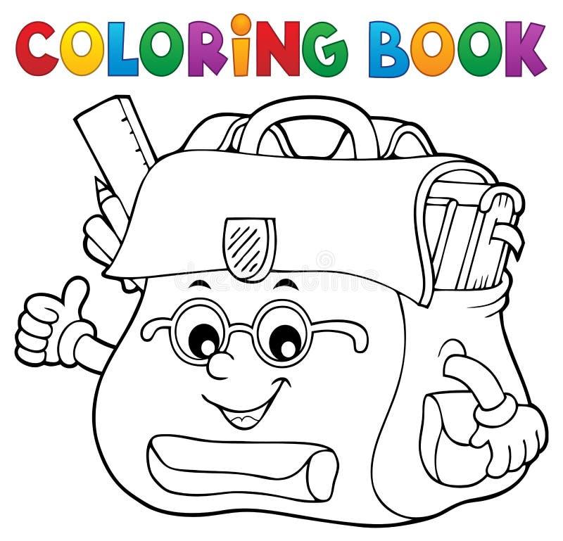 Ευτυχές θέμα 2 σχολικών τσαντών βιβλίων χρωματισμού διανυσματική απεικόνιση