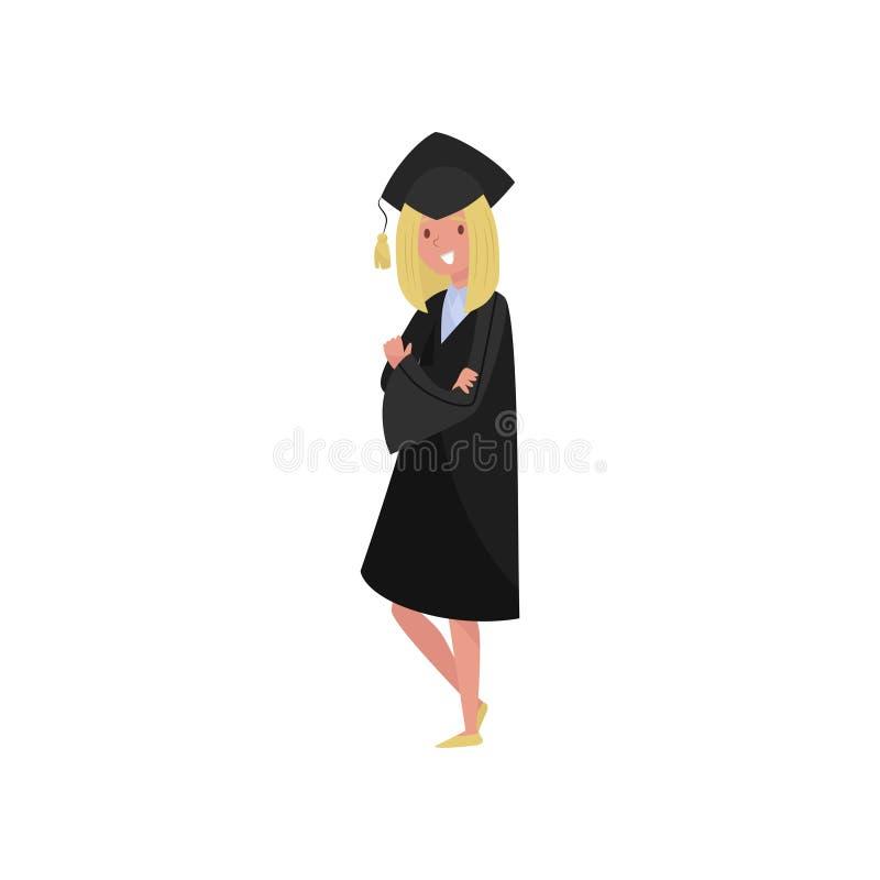 Ευτυχές θηλυκό διαβαθμισμένο, χαμογελώντας κορίτσι σπουδαστών βαθμολόγησης στην εσθήτα και διανυσματικές απεικονίσεις ΚΑΠ σε ένα  απεικόνιση αποθεμάτων