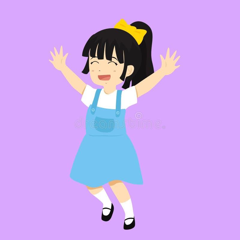 Ευτυχές διάνυσμα μικρών κοριτσιών διανυσματική απεικόνιση