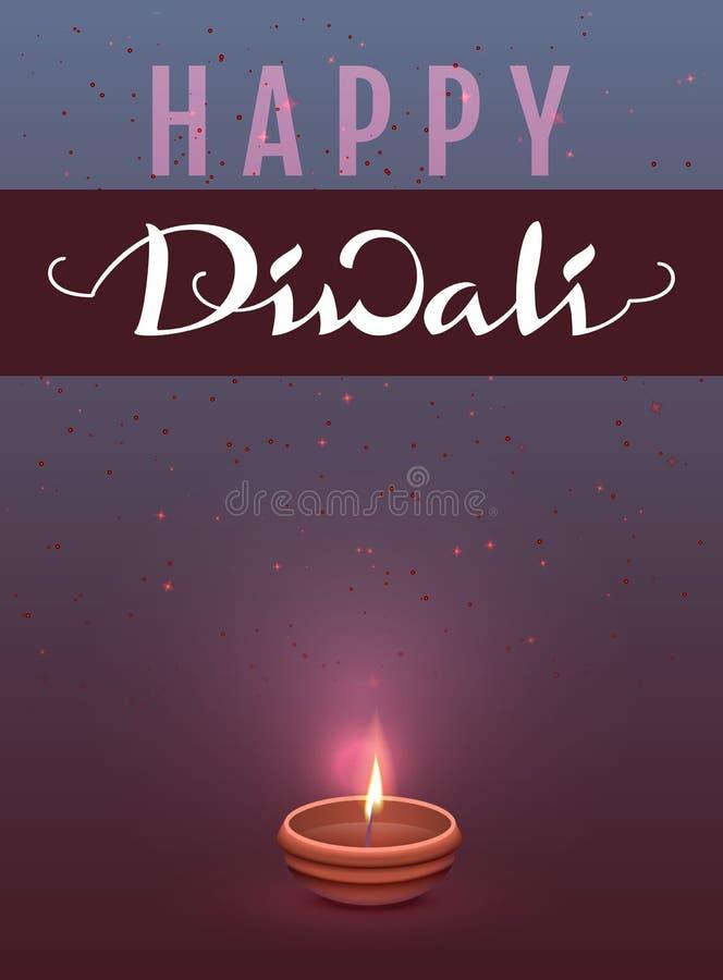 Ευτυχές ινδικό φεστιβάλ Diwali των φω'των Γράφοντας ευχετήρια κάρτα προτύπων κειμένων απεικόνιση αποθεμάτων