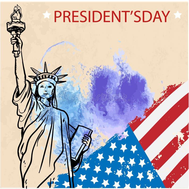Ευτυχές ιπτάμενο, έμβλημα ή αφίσα Προέδρων Day διανυσματική απεικόνιση
