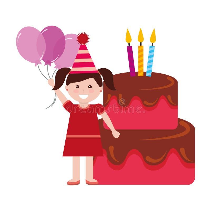 Ευτυχές κέικ γενεθλίων κοριτσιών με τα κεριά και τα μπαλόνια απεικόνιση αποθεμάτων