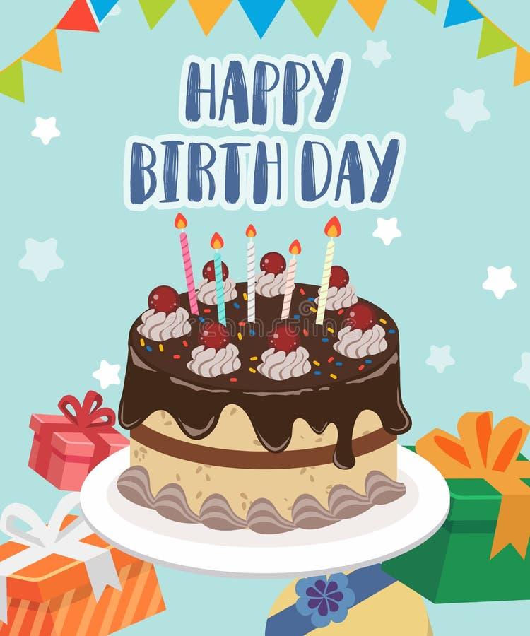 Ευτυχές κέικ ημέρας γέννησης για σας ελεύθερη απεικόνιση δικαιώματος