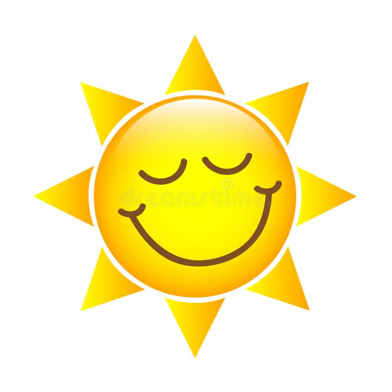 Ευτυχές κίτρινο εικονίδιο προσώπου ήλιων διανυσματική απεικόνιση