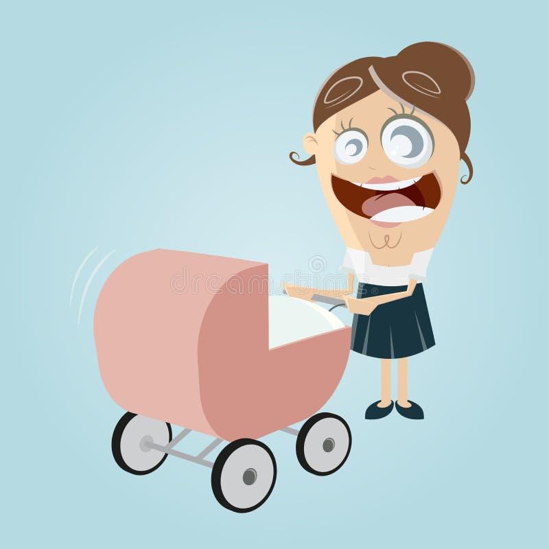 ευτυχές καροτσάκι μητέρω& διανυσματική απεικόνιση