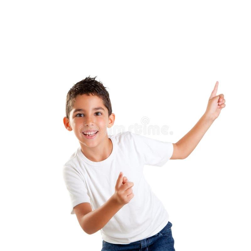 ευτυχές κατσίκι δάχτυλων χορού παιδιών αγοριών επάνω στοκ φωτογραφίες