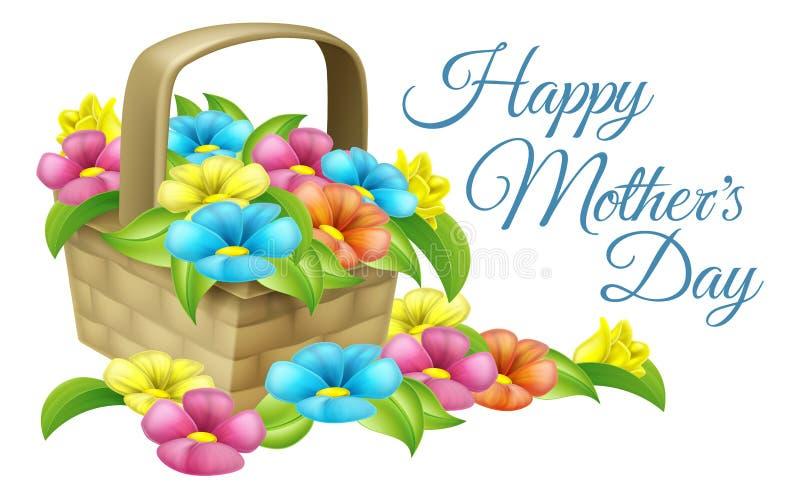 Ευτυχές καλάθι λουλουδιών ημέρας μητέρων ελεύθερη απεικόνιση δικαιώματος
