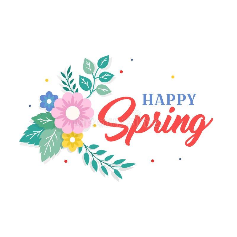Ευτυχές κείμενο ανοίξεων με τη ζωηρόχρωμες ρύθμιση λουλουδιών ανθοδεσμών και τη διακόσμηση φύλλων Ευχετήρια κάρτα, υπόβαθρο, αφίσ απεικόνιση αποθεμάτων