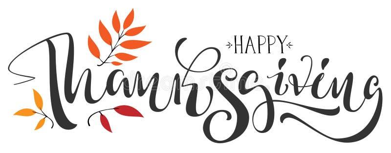 Ευτυχές κείμενο καλλιγραφίας ημέρας των ευχαριστιών για τη ευχετήρια κάρτα ελεύθερη απεικόνιση δικαιώματος