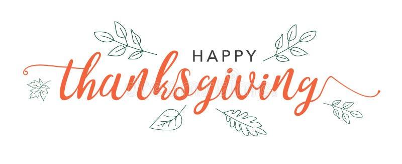 Ευτυχές κείμενο καλλιγραφίας ημέρας των ευχαριστιών με τα διευκρινισμένα πράσινα φύλλα πέρα από το άσπρο υπόβαθρο απεικόνιση αποθεμάτων